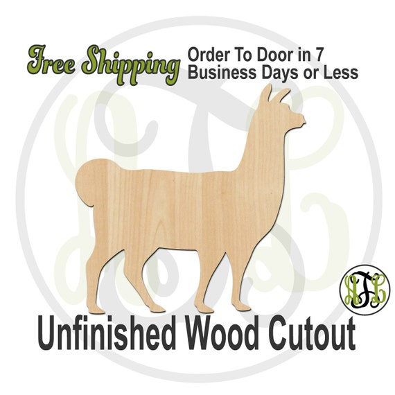 Llama - 230121- Animal Cutout, unfinished, wood cutout, wood craft, laser cut shape, wood cut out, Door Hanger, Dog, wooden, blank