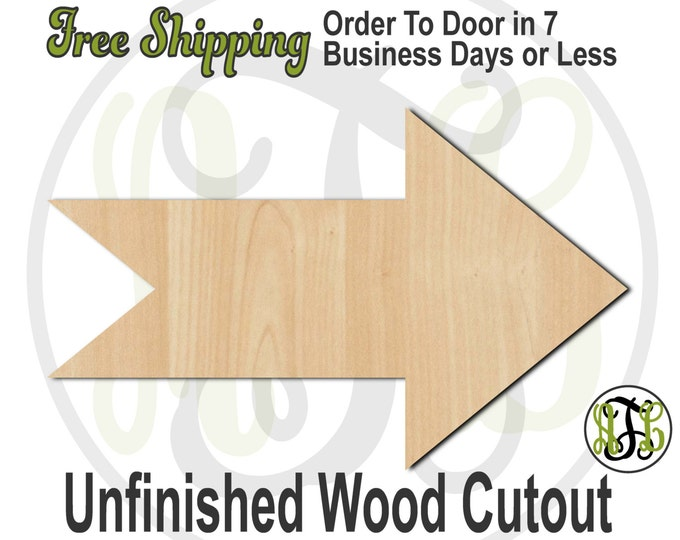 Plaque Arrow - 40029- Direction Cutout, unfinished, wood cutout, wood craft, laser cut shape, wood cut out, DIY, Free Shipping