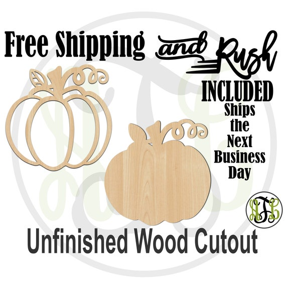 Pumpkin Outline or Solid- 170025-26- Thanksgiving Cutout, unfinished, wood cutout,  laser cut shape - RUSH PRODUCTION