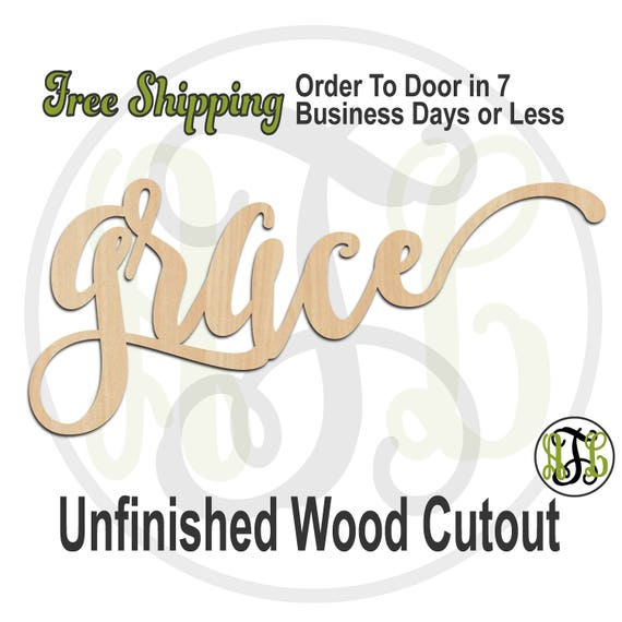 grace 2 - 320302FrFt- Word Cutout, unfinished, wood cutout, wood craft, laser cut wood, wood cut out, Door Hanger, wood cut out, wooden sign