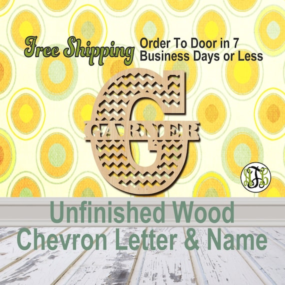Unfinished Wood Chevron Initial & Name, Personalized, Asset, Initial, Wood Craft, laser cut wood wood, wood cut out, Custom
