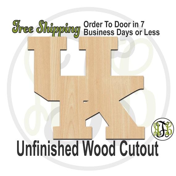 Interlocking U and K - 60121BSol- University Cutout, unfinished, wood cutout, wood craft, laser cut shape, wood cut out, Door Hanger, wooden