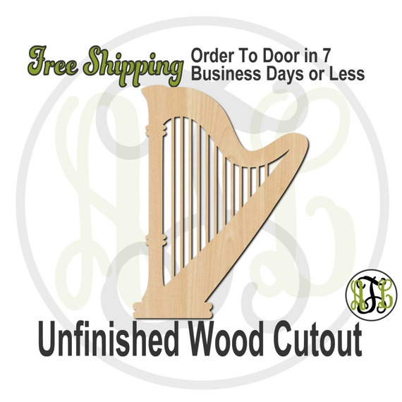 Harp - 60025- Instrument Cutout, unfinished, wood cutout, wood craft, laser cut shape, wood cut out, Door Hanger, Music, wooden, wall art