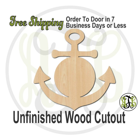 Anchor 1 with Center Plaque - 50009C- Nautical Cutout, unfinished, wood cutout, wood craft, laser cut, wood cut out, Door Hanger, wooden