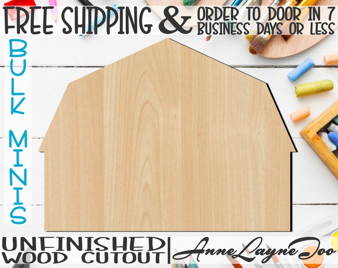 """Barn- 2"""" to 6"""" Minis, Small Wood Cutout, unfinished, wood cutout, wood craft, laser cut shape, wood cut out, ornament -300072"""