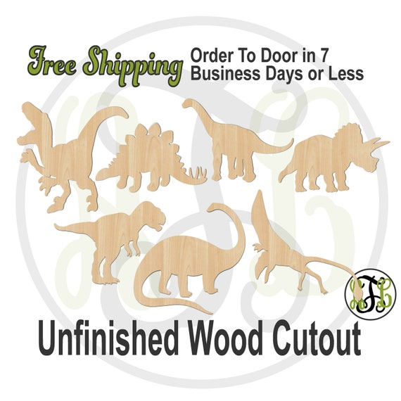 Dinosaurs - 230151-57- Animal Cutout, unfinished, wood cutout, wood craft, laser cut shape, wood cut out, Door Hanger, wooden, T Rex