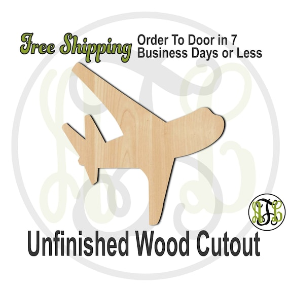 Airplane 3 - 10024- Cutout, unfinished, wood cutout, wood craft, laser cut shape, wood cut out, Door Hanger, wooden, ready to paint