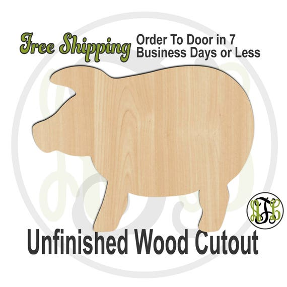 Pig 3 - 230095- Animal Cutout, unfinished, wood cutout, wood craft, laser cut shape, wood cut out, Door Hanger, Farm Animal, wooden, blank