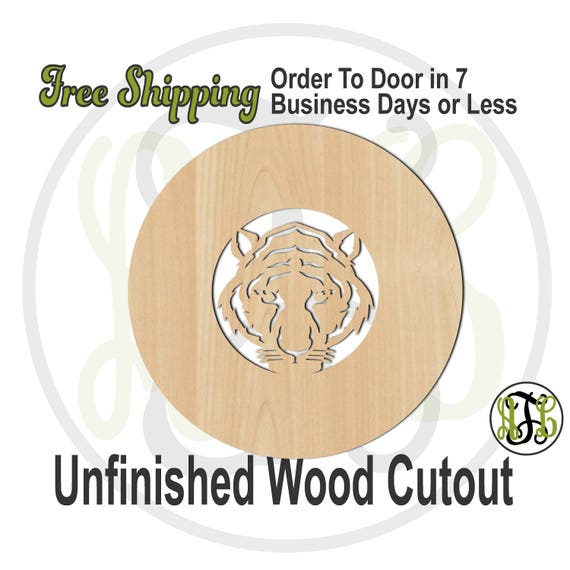 Tiger Head Outline Thick Circle Frame- 69029- School Spirit Cutout, unfinished, wood cutout, wood craft, laser cut shape out, wood cut out