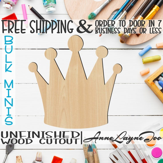 """Crown 16- 2"""" to 6"""" Minis, Small Wood Cutout, unfinished, wood cutout, wood craft, laser cut shape, wood cut out, ornament -24416"""