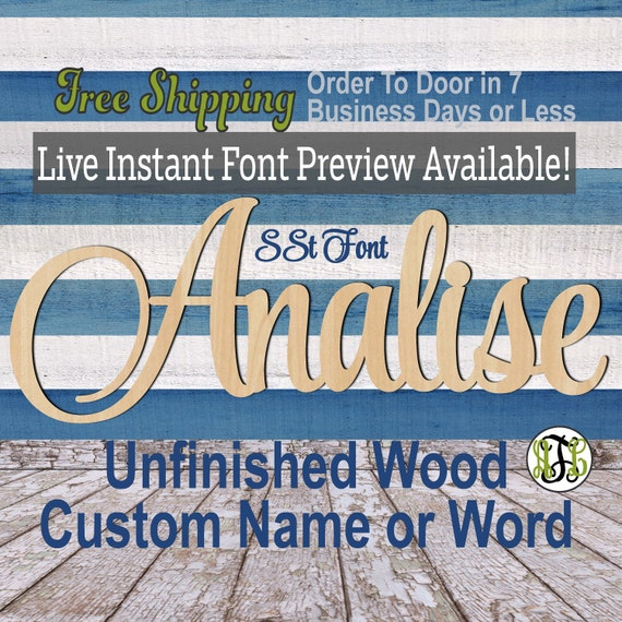 Custom Wood Name Sign, SSt Font, Cursive, Connected, wood cut out, wood cutout, wooden sign, Nursery, Wedding, Birthday, word sign