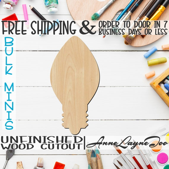 "Light Bulb- 2"" to 6"" Minis, Small Wood Cutout, unfinished, wood cutout, wood craft, laser cut, wood cut out, ornament -180034"