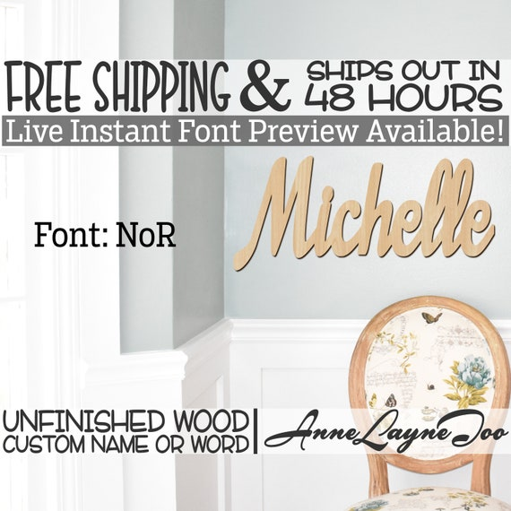 Wooden Name Sign, NoR Font,  unfinished wood cutout, Custom Wood Name Sign, Nursery Sign, Wedding, Birthday Sign, Name in Wood- 48 HOURS