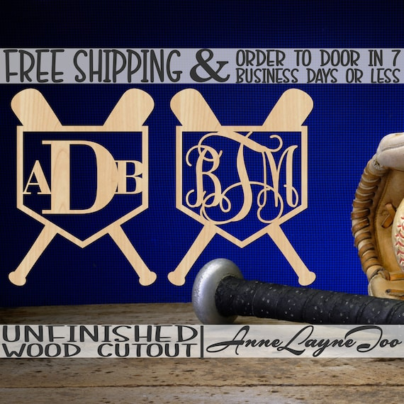 Bats & Home Plate Monogram Wood Cutout, Baseball Cut out, Baseball Decor, Baseball Door Hanger, unfinished, wood cut out, laser cut -60335M3