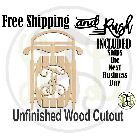 Sled Monogram Wood Sign, Christmas Initial Door Hanger, Monogram Sign, unfinished, wood cut out, laser cut -190001M1AtoZ- RUSH PRODUCTION