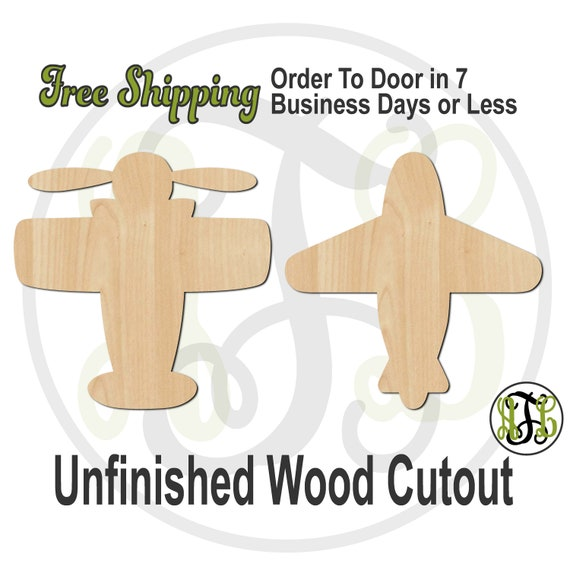 Vintage or Simple Airplane -10036-37- Aviator Cutout, unfinished, wood cutout, laser cut shape, wood cut out, Door Hanger, wooden plane