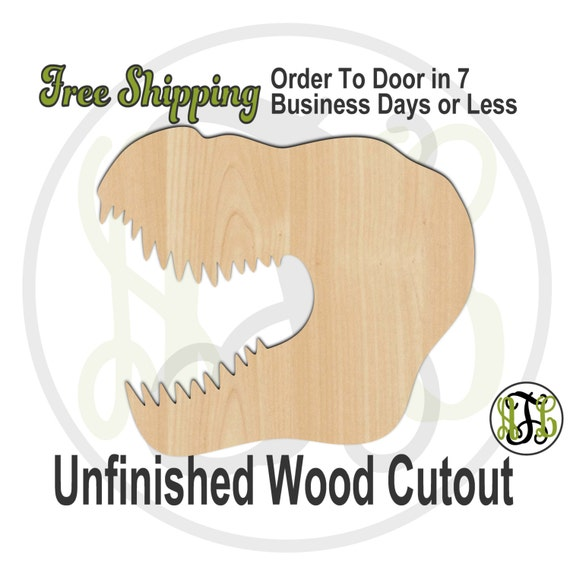 T-Rex Head- 230066- Animal Cutout, unfinished, wood cutout, wood craft, laser cut shape, wood cut out, Door Hanger, Dinosaur, wooden, blank