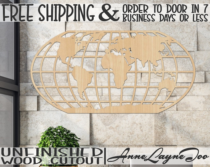 World Map Wooden Cutout, Travel Cutout, wood cut out, Office Wall Art, wooden sign, Earth map, unfinished, wood cut out, laser cut -279999