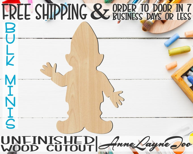 """Gnome- 3"""" to 6"""" Minis, Small Wood Cutout, unfinished, wood cutout, wood craft, laser cut, wood cut out, ornament -180045"""
