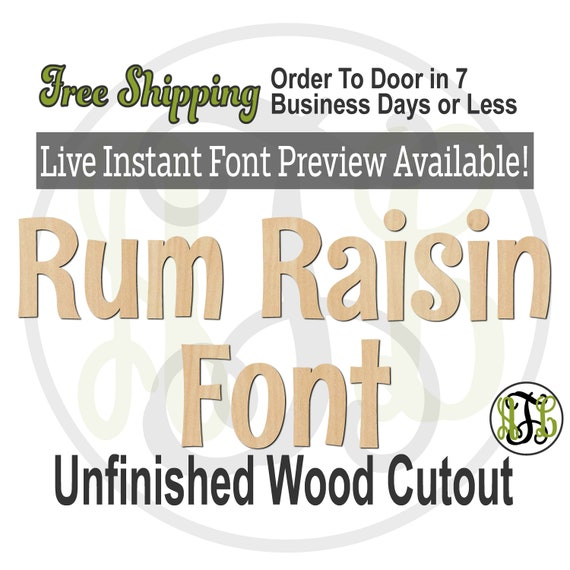 Rum Raisin Font Name / Word / Phrase- Block Alphabet Cutout, unfinished, wood cutout, laser cut wood, wood cut out, Live Font Preview