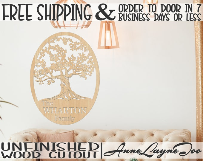 Southern Family Tree with Name Oval Wood Cutout, Family Name Wooden Sign, Name Sign Cut Out, unfinished, wood cutout, laser cut- 990045NA