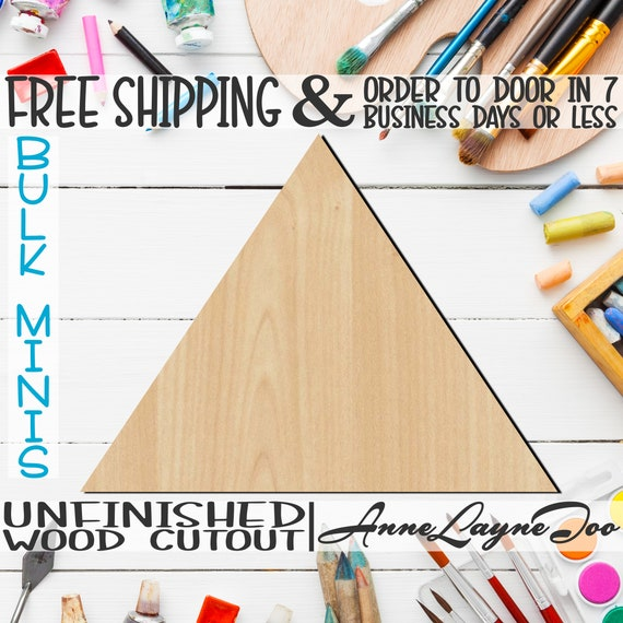 "Triangle- 2"" to 6"" Minis, Small Wood Cutout, unfinished, wood cutout, wood craft, laser cut shape, wood cut out, ornament -40048"