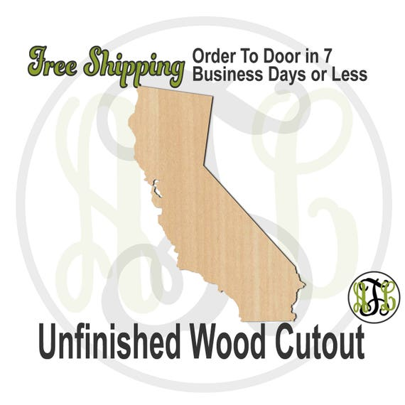 California State- 270005- State Cutout, unfinished, wood cutout, wood craft, laser cut shape, wood cut out, Door Hanger, wooden