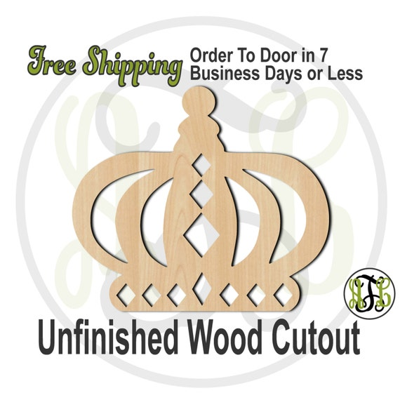 Crown 9 - 24409- Cutout, unfinished, wood cutout, wood craft, laser cut shape, wood cut out, Door Hanger, wooden, ready to paint