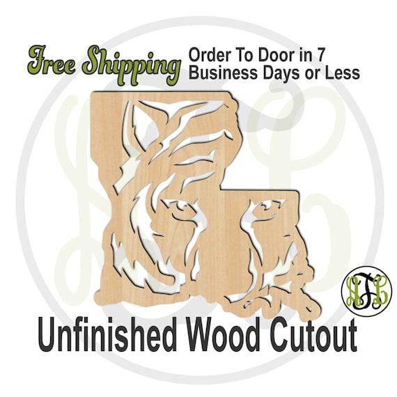 Louisiana Tiger Head- 60145- School Spirit Cutout, unfinished, wood cutout, wood craft, laser cut, wood cut out, Door Hanger, L5U, wooden