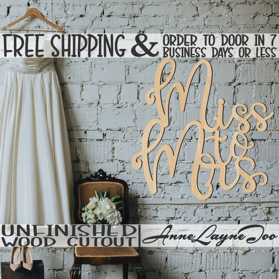 Miss to Mrs Wood Cutout, Wedding Cutout, Bridal Shower Door Hanger, Engagement Wooden Sign, unfinished, wood cut out, laser cut -321009