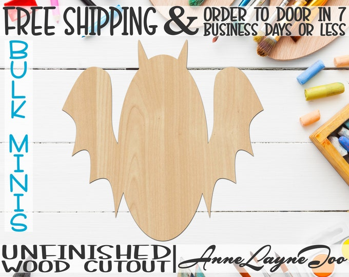 "Bat- 1"" to 6"" Minis, Small Wood Cutout, unfinished, wood cutout, wood craft, laser cut shape, wood cut out, ornament -160002"
