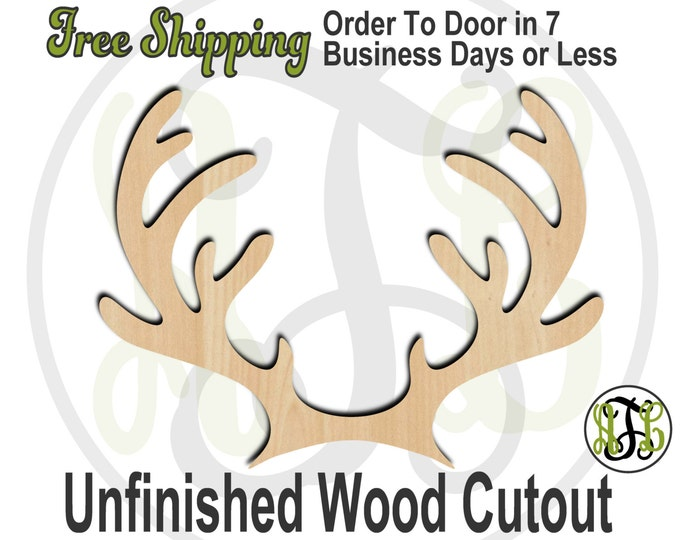Reindeer Antlers - 180040- Christmas Cutout, unfinished, wood cutout, wood craft, laser cut shape, wood cut out, Door Hanger, Holiday