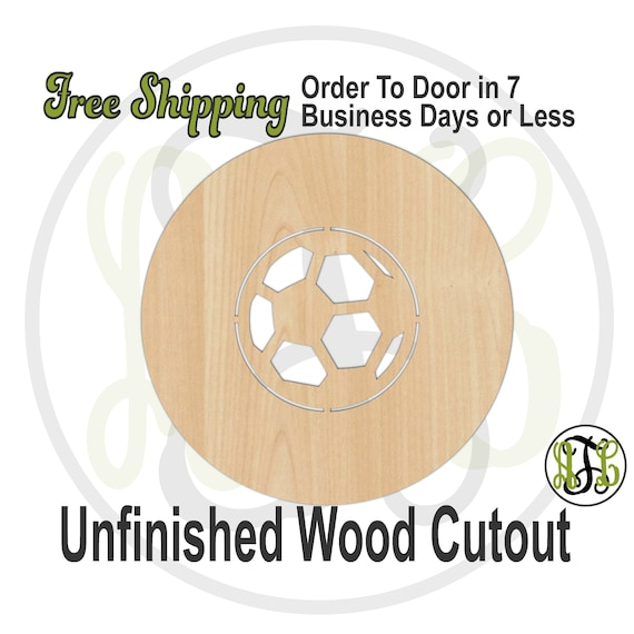 Soccer Ball Thick Circle Frame- 69005- School Spirit Cutout, unfinished, wood cutout, wood craft, laser cut shape out, wood cut out, wooden