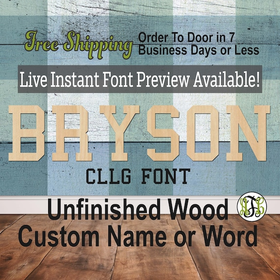 Cllg Font Name / Word / Phrase- Block Alphabet Cutout, unfinished, wood cutout, laser cut wood, wood cut out, wooden,  Live Font Preview