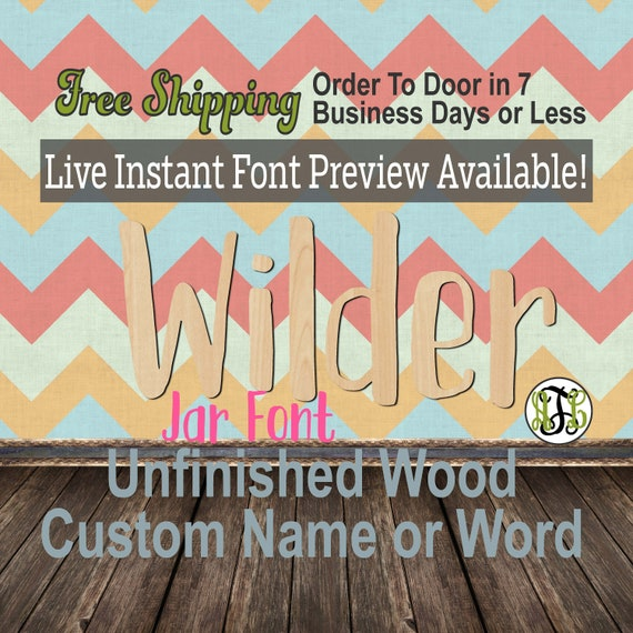 Jar Font Name / Word / Phrase- Block Alphabet Cutout, unfinished, wood cutout, laser cut wood, wood cut out, wooden,  Live Font Preview
