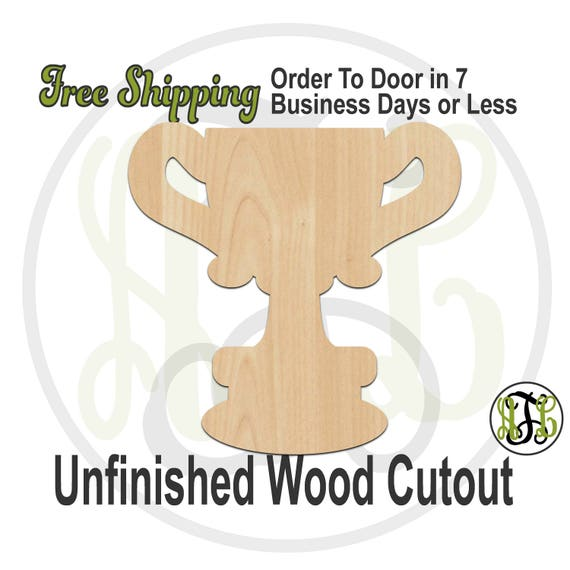 Trophy Cup- 300178-Award Cutout, unfinished, wood cutout, wood craft, laser cut shape out, wood cut out, Door Hanger, gold cup, wooden
