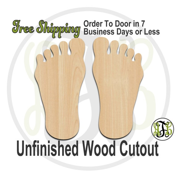 Pair of Feet - 300063- 2 Feet Cutout, unfinished, wood cutout, wood craft, laser cut, wood cut out, Free Ship, Left and Right Foot, wooden