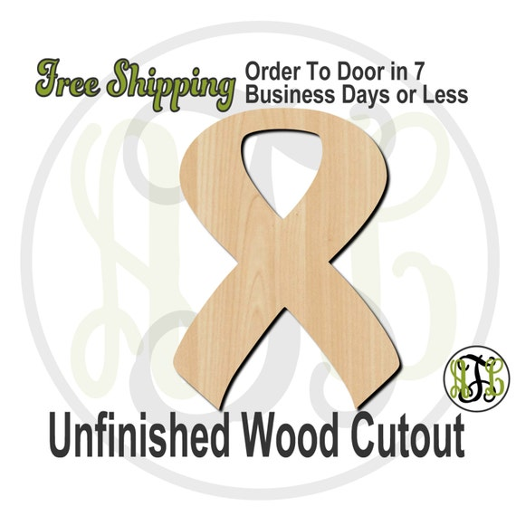 """Awareness Ribbon- 3"""" to 6"""" Minis- 300020- Small Wood Cutout, unfinished, wood cutout, wood craft, laser cut, wood cut out, ornament"""
