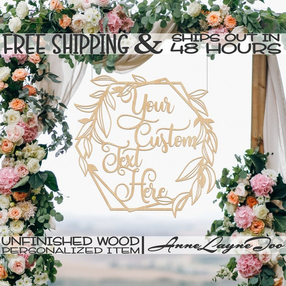 Custom Leafy Honeycomb Frame Wood Sign, Event Cut Out, Wooden Wedding Sign, unfinished, wood cut out, laser cut, Ships in 48 HOURS -990061