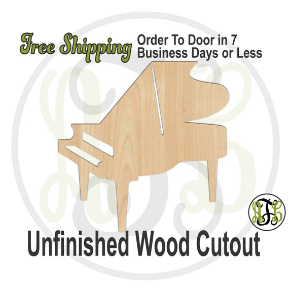 Piano - 300169- Music Cutout, unfinished, wood cutout, wood craft, laser cut shape out, wood cut out, Door Hanger, grand piano, wooden