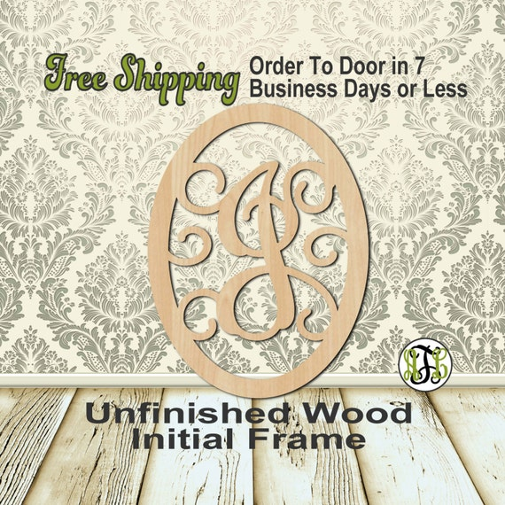Thick Oval with Scrolls Monogram - 601TOS A-Z - Personalized Cutout, Initial, unfinished, laser cut wood, wood cut out, wooden, Door Hanger
