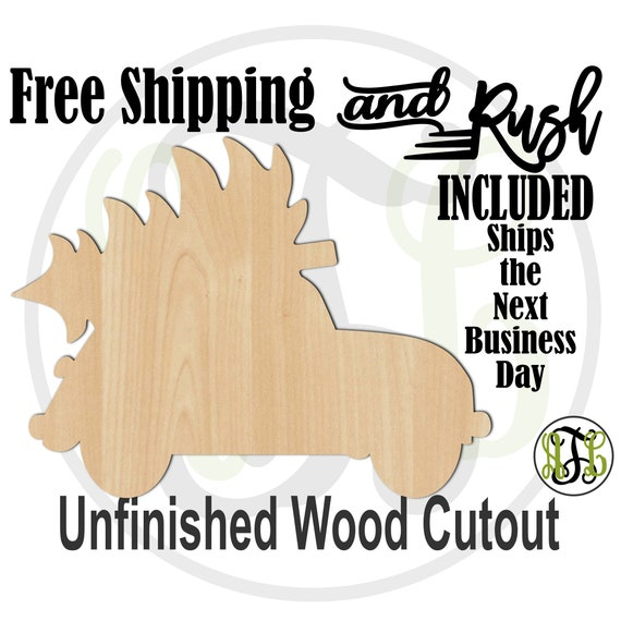 Small Car and Tree - 180082- Christmas Cutout, unfinished, wood cutout,  laser wood cutout, Holiday, wall art - RUSH PRODUCTION