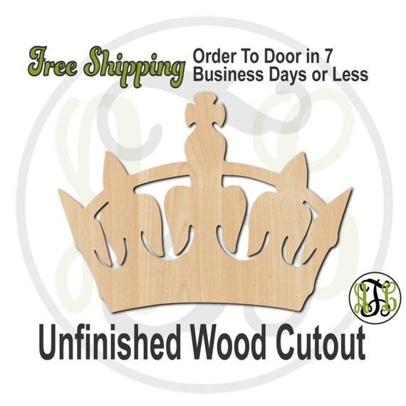 Crown 7 - 24407- Cutout, unfinished, wood cutout, wood craft, laser cut shape, wood cut out, Door Hanger, wooden, ready to paint