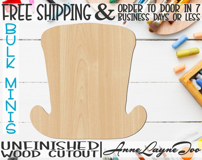 """Top Hat- 1"""" to 6"""" Minis, Small Wood Cutout, unfinished, wood cutout, wood craft, laser cut shape, wood cut out, ornament -10001"""