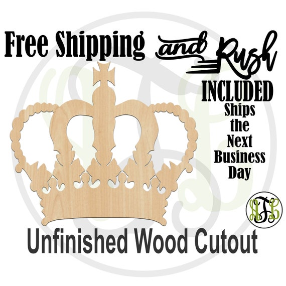 Crown 17- 24417- Cutout, unfinished, wood cutout,  laser wood cutout, Door Hanger, wall art, ready to paint - RUSH PRODUCTION