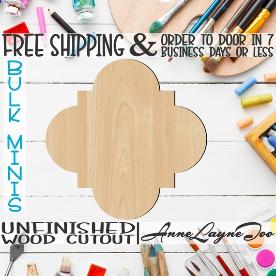 """Quatrefoil- 1"""" to 6"""" Minis, Small Wood Cutout, unfinished, wood cutout, wood craft, laser cut shape, wood cut out, ornament -40046"""