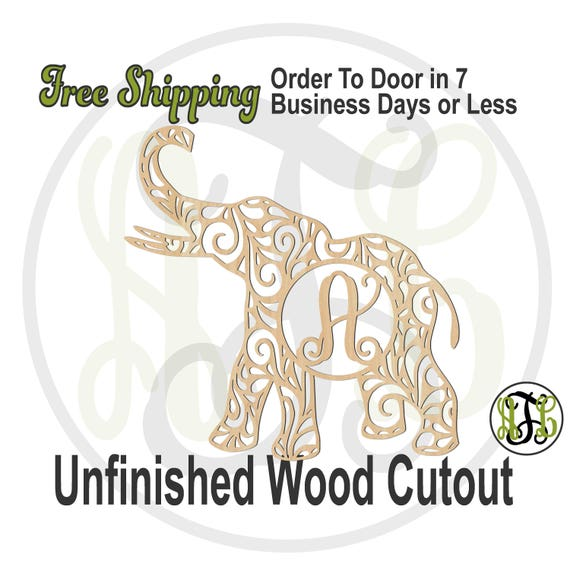 Swirl Elephant Monogram - 230106M1- University Cutout, unfinished, wood cutout, wood craft, laser cut wood out, wood cut out, wooden, AL