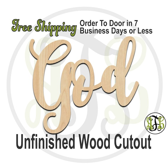 God - 320259FrFt- Religious Cutout, unfinished, wood cutout, wood craft, laser cut wood, wood cut out, Door Hanger, wooden, wreath accent