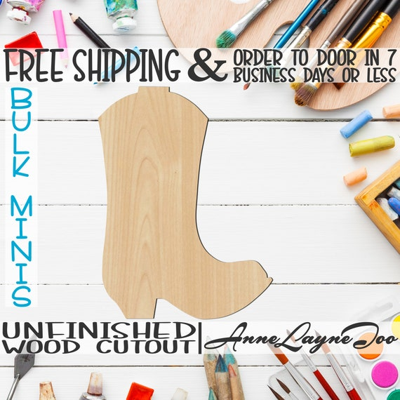 """Cowboy Boot- 2"""" to 6"""" Minis, Small Wood Cutout, unfinished, wood cutout, wood craft, laser cut, wood cut out, ornament -300004"""