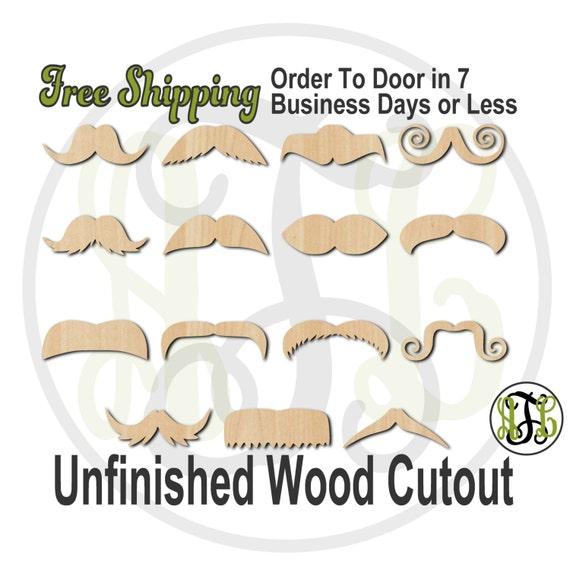 Mustache - 24001-15- 1 Mustache Cutout, unfinished, wood cutout, wood craft, laser cut shape, wood cut out, Door Hanger, wooden